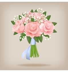 Wedding bouquet of pink roses vector