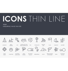 Wind Thin Line Icons vector image