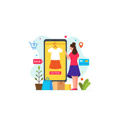 woman chooses clothes and shopping using vector image