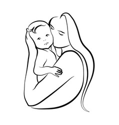 Woman with a child logo a young mother vector