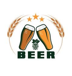 beer emblem design template vector image