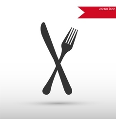 Fork and knife black icon vector image vector image