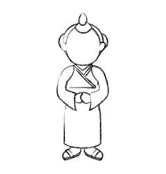 man japanese avatar character vector image vector image