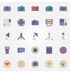 Photography colorful icons vector image