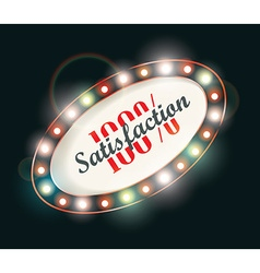 Abstract retro light sign 100 satisfaction vector image vector image