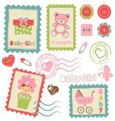 Baby girl stamp2 vector image vector image