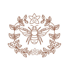 bumblebee coffee flower leaves icon vector image