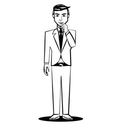 business man thinking comic outline vector image