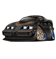 Classic American Black Muscle Car Cartoon vector image