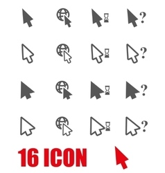 grey cursor icon set vector image vector image