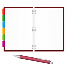 notebook and pen vector image vector image