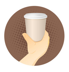 paper coffee cup in hand vector image