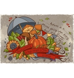 to the autumn season of doodles and vector image vector image