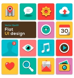Flat UI design trend set icons vector image vector image