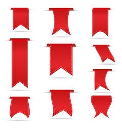 Red hanging curved ribbon banners set eps10 vector