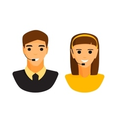 Support boy and girl faces vector image vector image