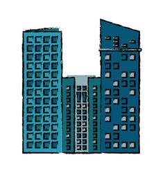 building facade residential estate icon vector image