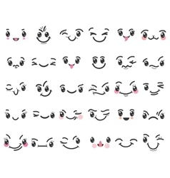 Cartoon kawaii emoticons vector image