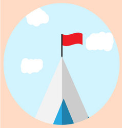 Top of mountain with flag goal icon vector image vector image