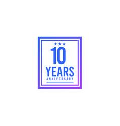 10 years anniversary blue square design logo vector