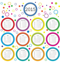 2015 Calendar for kids with colored circles vector image