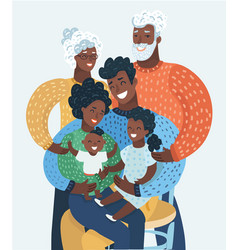 afro american or black happy cartoon family vector image