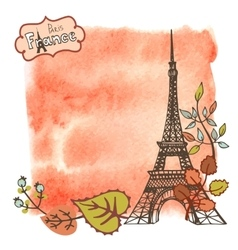 Autumn ParisEiffel towerleaveswatercolor splash vector image