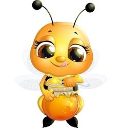 Beautiful bee that eats honey vector