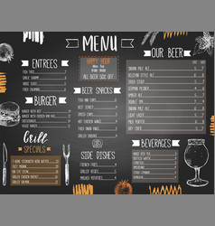 beer pub or bar menu template with hand drawn vector image