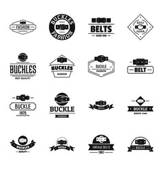 Belt buckle logo icons set simple style vector