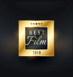 Best film movie award golden label design vector