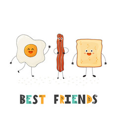 best friends card with cute food characters - egg vector image
