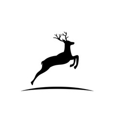 Black silhouette reindeer with antlers vector