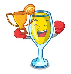 Boxing winner mimosa mascot cartoon style vector