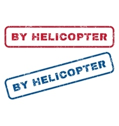 By helicopter rubber stamps vector