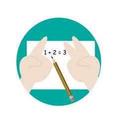 Calculating math school cartoon graphic design vector