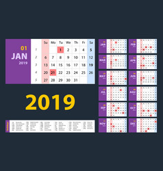 Calendar 2019 purple set week starts on sunday vector