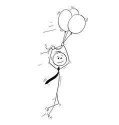 cartoon business man flying on air balloons vector image