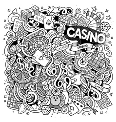 Cartoon hand-drawn doodles casino gambling vector