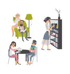 Cartoon people reading books scene vector