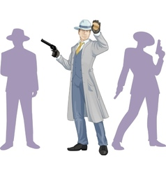Caucasian police chief and people silhouettes vector image
