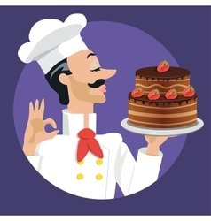 Chef with strawberry cake vector