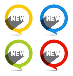 Circle Colorful New Labels Set vector