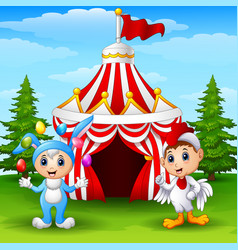 Circus girl rabbit costume and rooster kid on the vector