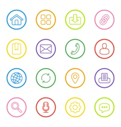 Colorful line web icon set circle vector