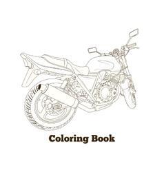 Coloring book motorbike vector image