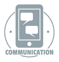 communication phone logo simple gray style vector image