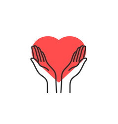 Contour philanthropy hands with heart vector