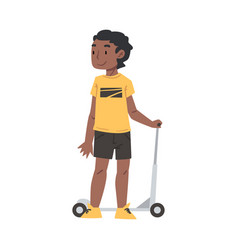 Cute african american riding kick scooter vector