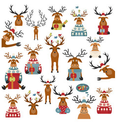 Cute reindeer sticker icon set elements for vector